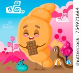 croissant character with... | Shutterstock .eps vector #754971664