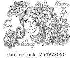 flower doodle and girl in black ... | Shutterstock . vector #754973050