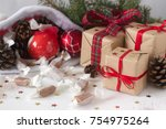 gifts and homemade toffee in... | Shutterstock . vector #754975264