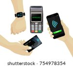 contactless payments set. pos... | Shutterstock .eps vector #754978354