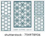 laser cut ornamental panel ... | Shutterstock .eps vector #754978936