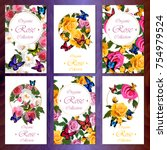 postcard set with roses and... | Shutterstock .eps vector #754979524