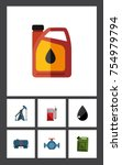 flat icon fuel set of container ... | Shutterstock .eps vector #754979794