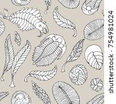 seamless pattern with fauna of... | Shutterstock . vector #754981024