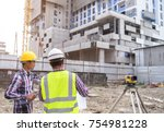 civil engineer checking work... | Shutterstock . vector #754981228