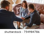 at the psychologist. family... | Shutterstock . vector #754984786