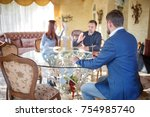 at the psychologist. young...   Shutterstock . vector #754985740