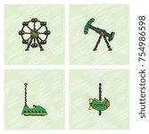 amusement park icons in...   Shutterstock .eps vector #754986598