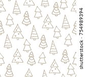 seamless christmas pattern with ... | Shutterstock .eps vector #754989394