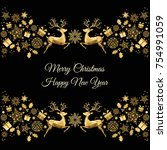 christmas golden decoration.... | Shutterstock .eps vector #754991059