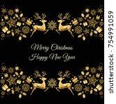 christmas golden decoration.... | Shutterstock .eps vector #754991059