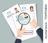 hr manager examines resume... | Shutterstock .eps vector #754993804
