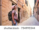 the tourist girl in the... | Shutterstock . vector #754995544