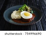 scrambled eggs with cutlet and... | Shutterstock . vector #754996690
