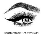 woman with stylish eyelashes... | Shutterstock .eps vector #754998934
