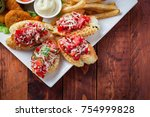 big and tasty combo of nuggets  ... | Shutterstock . vector #754999828