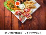 big and tasty combo of nuggets  ... | Shutterstock . vector #754999834