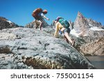 young couple with backpacks... | Shutterstock . vector #755001154