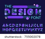 vector of modern stylized font... | Shutterstock .eps vector #755002078