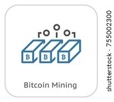 bitcoin mining icon. modern... | Shutterstock .eps vector #755002300