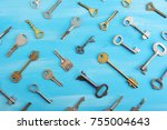 background from various keys on ... | Shutterstock . vector #755004643