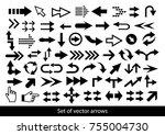 vector set of black arrows on a ... | Shutterstock .eps vector #755004730