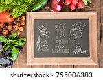 overhead view of chalkboard... | Shutterstock . vector #755006383