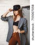 beautiful blonde girl posing in ... | Shutterstock . vector #755007058