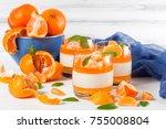 creamy panna cotta with orange...   Shutterstock . vector #755008804