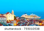 view of lisbon old town and sea ... | Shutterstock . vector #755010538