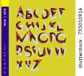 vector colorful abstract font... | Shutterstock .eps vector #755010916