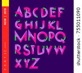 vector colorful abstract font... | Shutterstock .eps vector #755011090