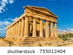 temple of concordia in the... | Shutterstock . vector #755012404