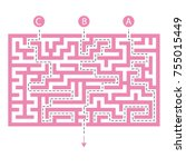 labyrinth shape design element. ... | Shutterstock .eps vector #755015449
