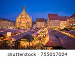 christmas market in the old... | Shutterstock . vector #755017024