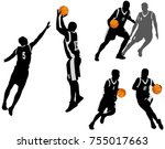 basketball players silhouettes... | Shutterstock .eps vector #755017663