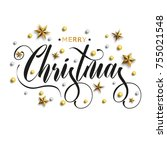 merry christmas inscription... | Shutterstock .eps vector #755021548