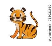 cute tiger cartoon icon vector... | Shutterstock .eps vector #755021950