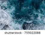 aerial view to ocean waves.... | Shutterstock . vector #755022088