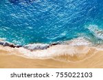 aerial view to tropical sandy... | Shutterstock . vector #755022103