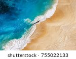aerial view to tropical sandy... | Shutterstock . vector #755022133