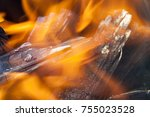 burning logs in a fire  a close ... | Shutterstock . vector #755023528