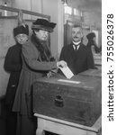 american woman votes  ca. 1920. ... | Shutterstock . vector #755026378