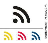 wireless network antenna icon... | Shutterstock .eps vector #755027374