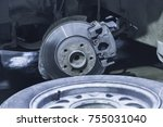 car brake disc without wheels... | Shutterstock . vector #755031040
