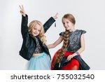 portrait of little girls with... | Shutterstock . vector #755032540
