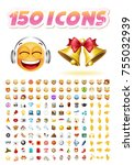 set of realistic cute icons on... | Shutterstock .eps vector #755032939