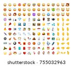 set of realistic cute icons on... | Shutterstock .eps vector #755032963