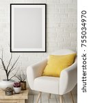 mock up poster in nordic... | Shutterstock . vector #755034970