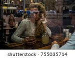 young couple using mobile phone ... | Shutterstock . vector #755035714